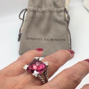 David Yurman Sterling Silver Cushion On Point Pink Tourmaline Diamond 💎Ring
